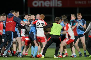Gutsy Strabane fall just short as match marred by violent scenes