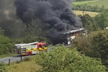 Lucky escape for wedding guests as bus catches fire